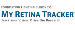 "Logo for My Retina Tracker by Foundation Fighting Blindness and its tagline, ""Track Your Vision. Drive the Research."""
